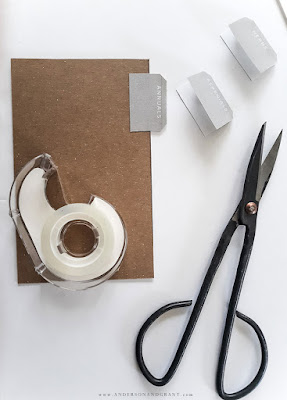 Tape, scissors, and printable divider tabs