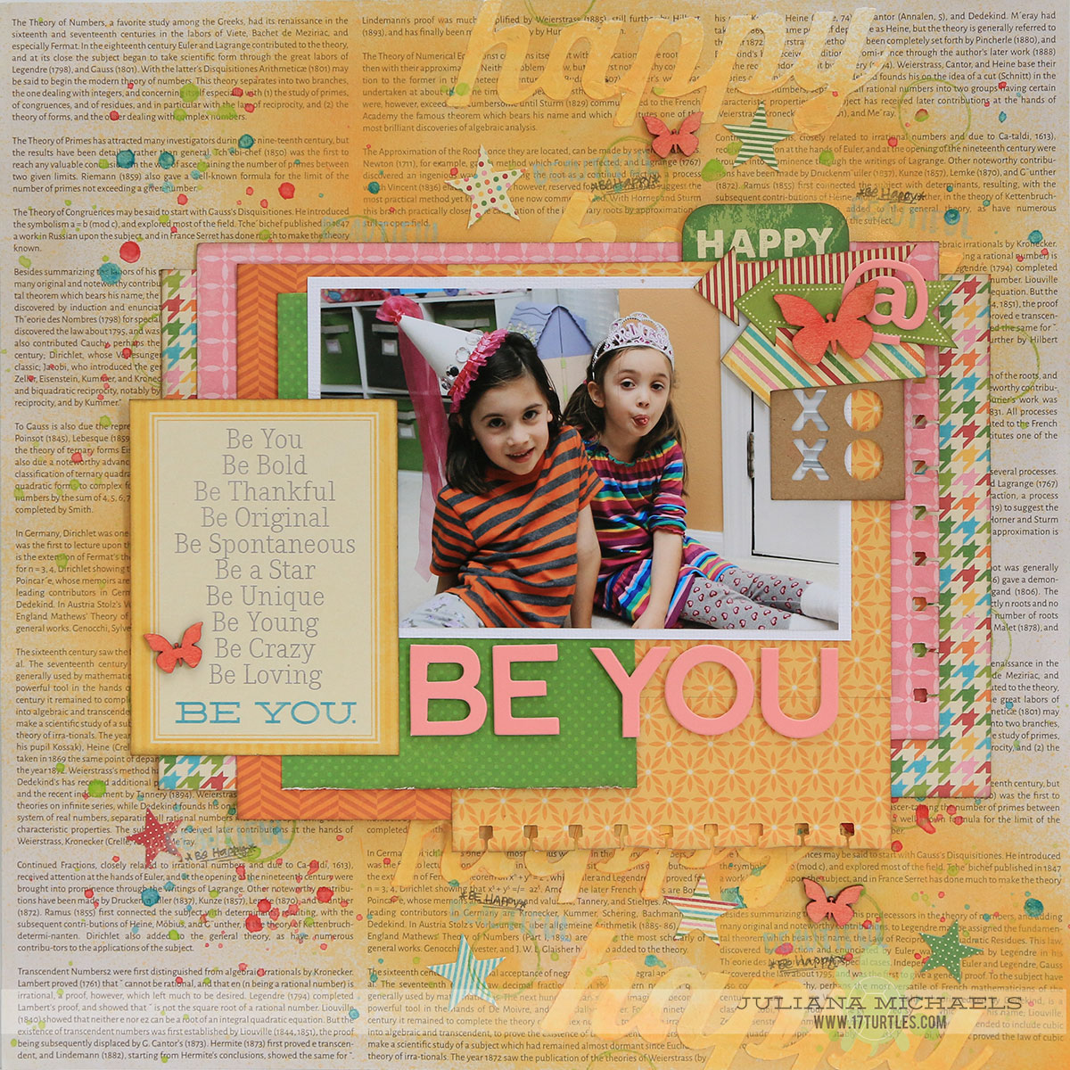Be You Happy Scrapbook Page by Juliana Michaels created for the Paper Issues Online Crop using stencils, mixed media and Jillibean Soup.