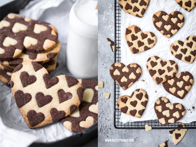 Zweifarbige Herz Kekse Oder Platzchen Bicolor Heart Cookies