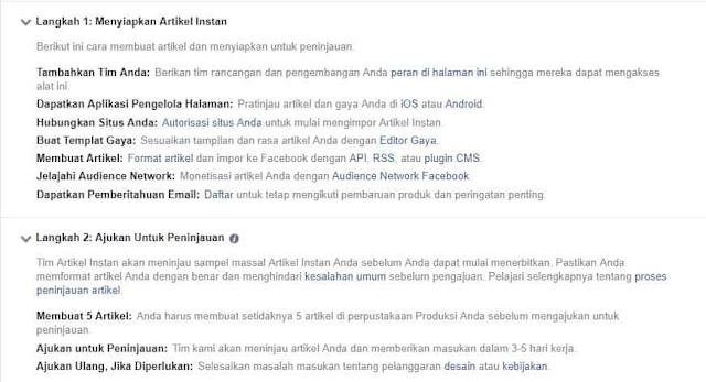 Langkah-langkah setting instan artikel fb