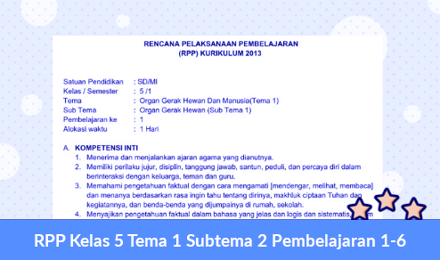 RPP Kelas 5 Tema 1 Subtema 2 Pembelajaran 1-6