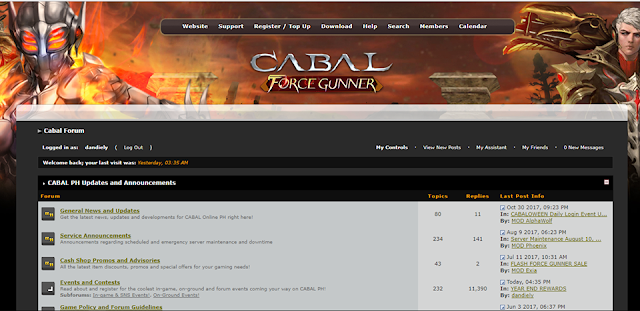 Cabal Online forums is no longer available