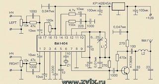 схема стереофонического передатчика на BA1404 с добавленным транзистором и стабилизатором напряжения