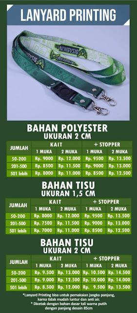 Daftar harga tali lanyard murah