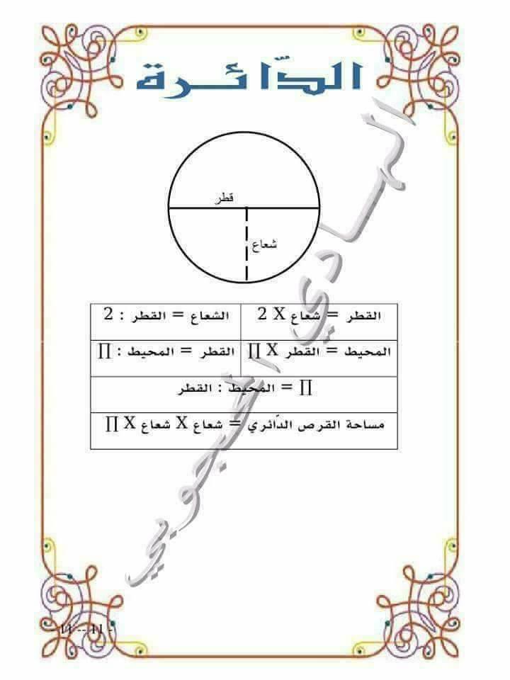 قواعد الرياضيات ( المعين والمثلث والدائرة )