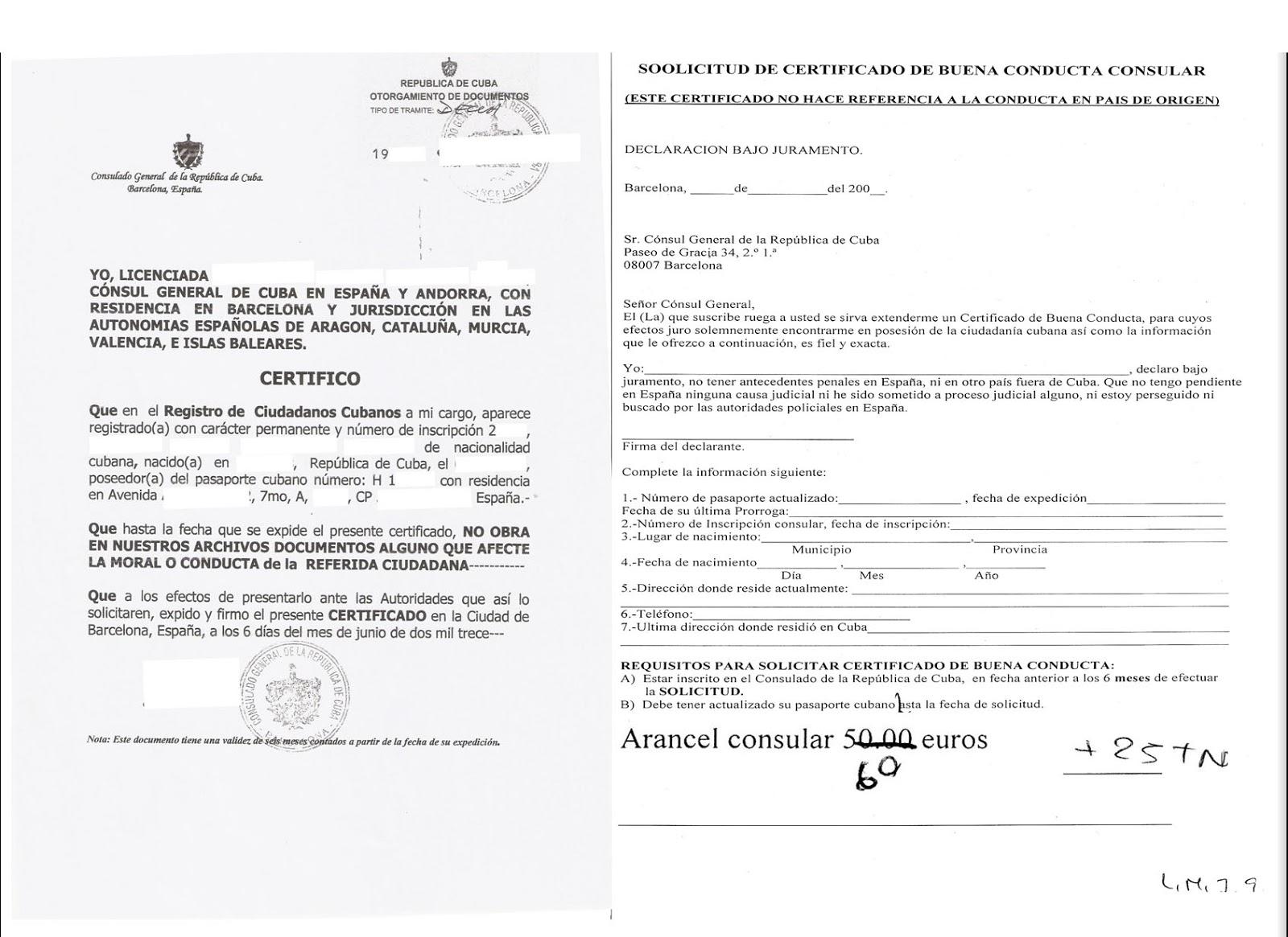 Comentarios sobre el Certificado de Buena Conducta o Antecedentes ...