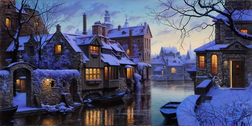 26-The-Venice-of-the-North-Evgeny-Lushpin-Scenes-of-Realistic-Night-Time-Paintings-www-designstack-co