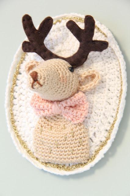 gehaakt hertenkop, Gehaakt/ crochet, haken, muurdecoratie kinderkamer, Studio Mojo, sweet crochet, Tendre Crochet,