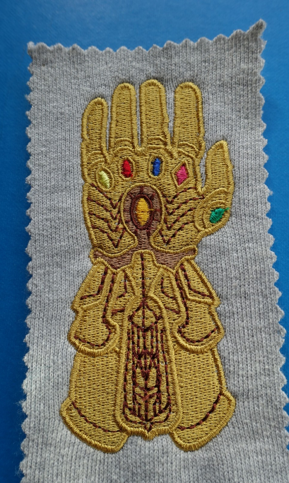 anne's blog: Machine embroidery - An Infinity Gauntlet for Ben