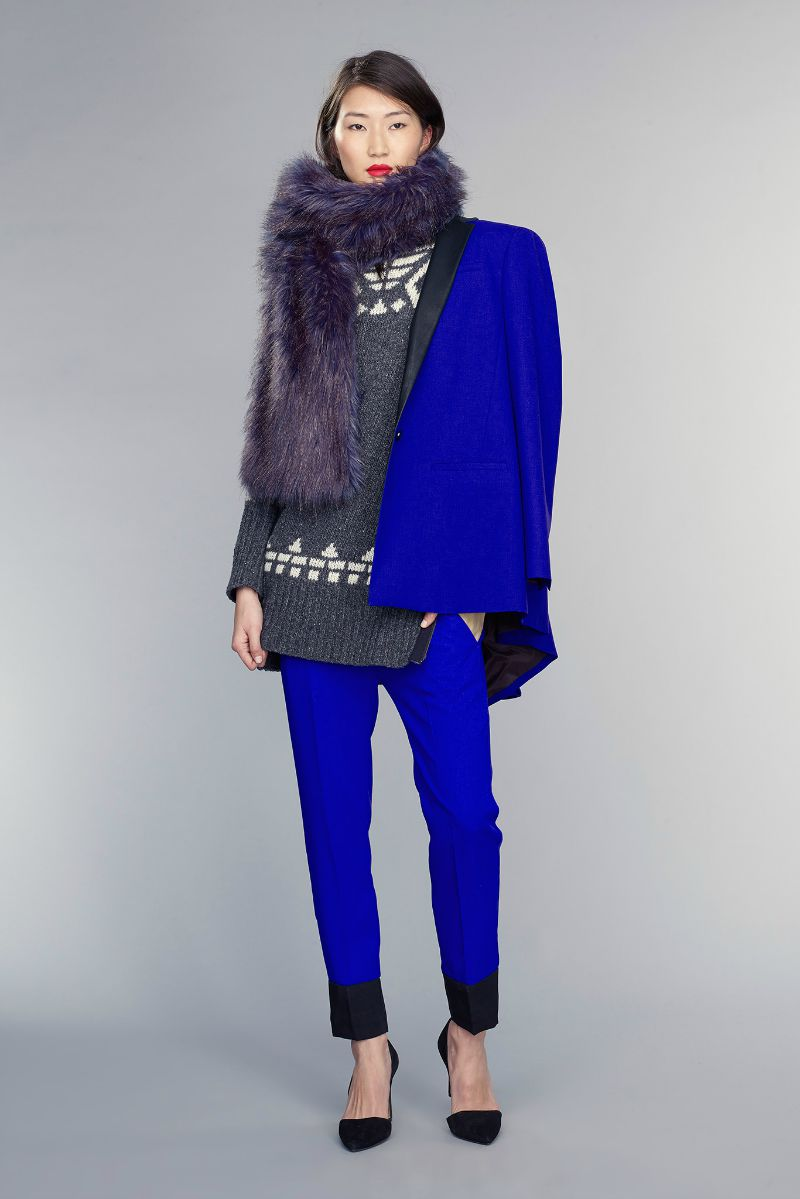 banana republic fall 2015 ootd outfit bright blue blazer and trousers