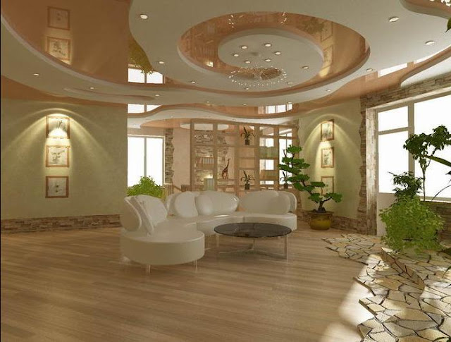 false pop ceiling design for living room area with modern lighting