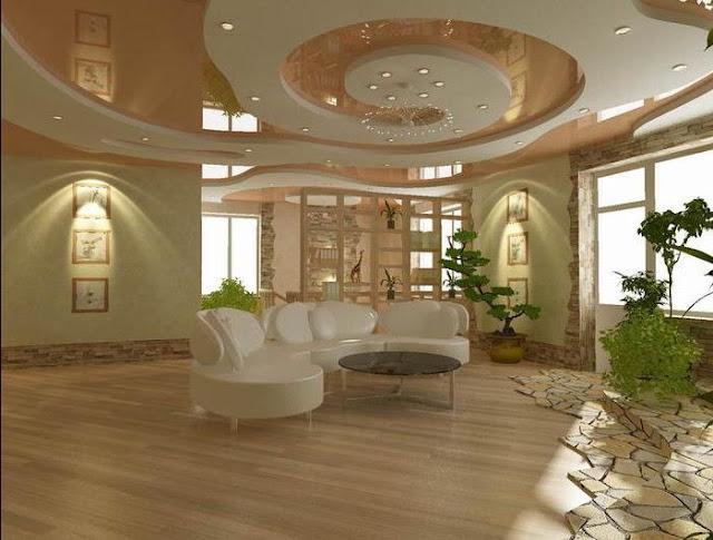 false pop ceiling design for living room area with modern lighting