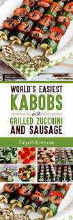 World's Easiest Kabobs with Grilled Zucchini and Sausage found on KalynsKitchen.com