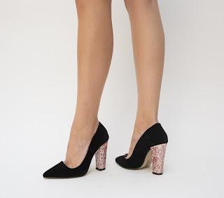 pantofi negri de ocazie cu toc cu gliter auriu