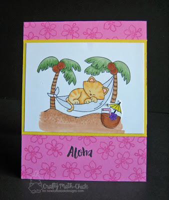 Aloha Newton in hammock card by Crafty Math Chick | Aloha Newton stamp set by Newton's Nook Designs