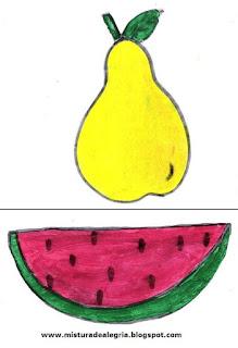Desenho de pêra e melancia