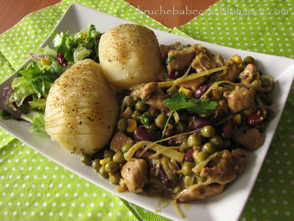 Karkówka w sosie musztardowym z warzywami