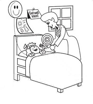 Doctora Cuidando A Niña En Hospital Dibujo Views