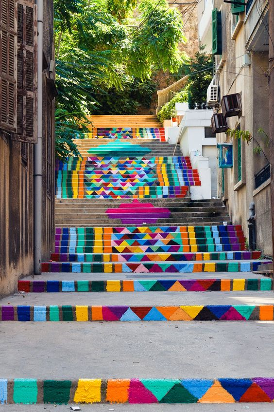 rainbow painted stairs to paradise