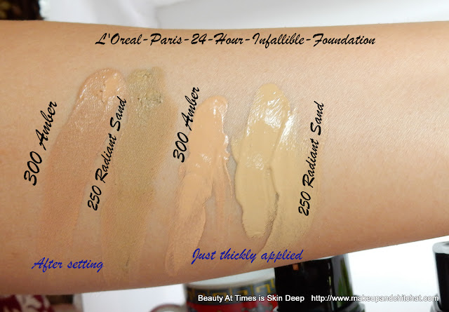 L'Oreal Paris 24 Hour Infallible Foundation Swatches
