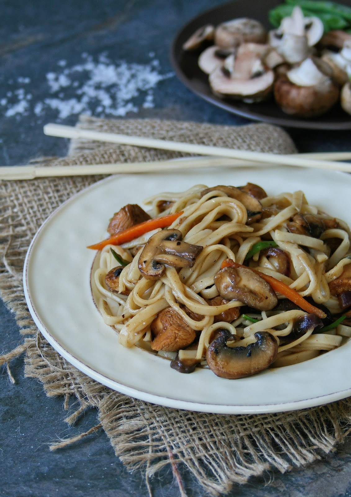 Chicken stir fry with mushrooms.