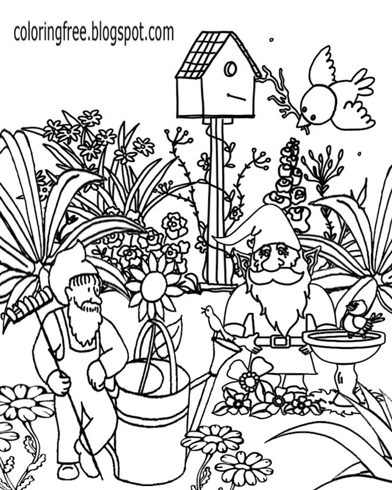 fun sketch ideas wonderful magic garden gnome family gardening coloring pages for adults to print - Garden Gnome Coloring Pages