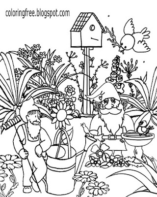 Fun sketch ideas wonderful magic garden gnome family gardening coloring pages for adults to print