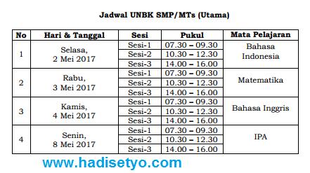 POS UN 2017 dan Jadwal UN SMP/MTs, SMA/MA dan SMK tahun 2017 img