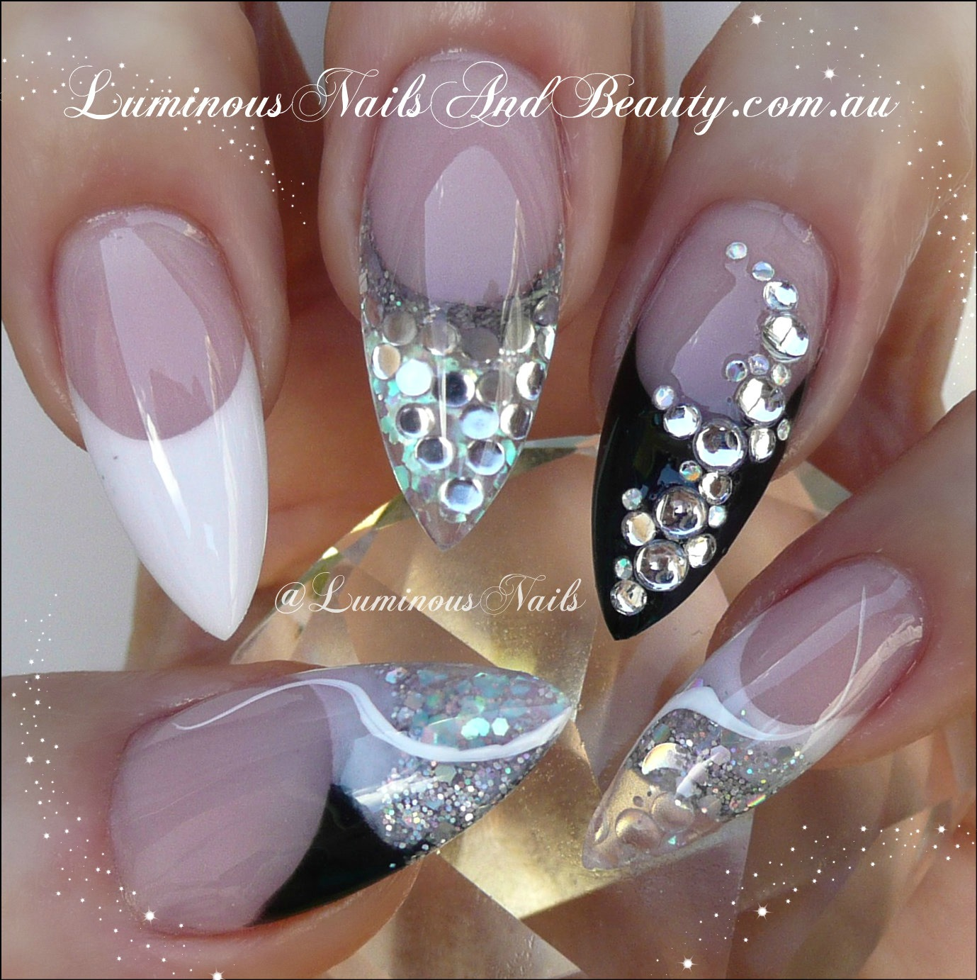 Nail Art Black White And Gold: Acrylic Nails & I Love Doing Them : What Them Nails Look