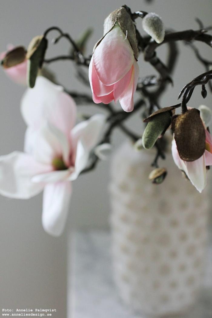 annelies design, webbutik, webshop, nätbutik, inredning, konstgjorda blommor, magnolia, naturtrogna blommor, blomma,
