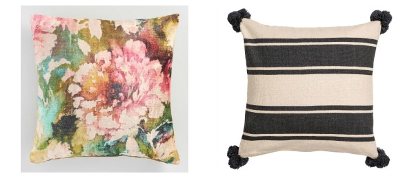 floral + stripes pillow combination