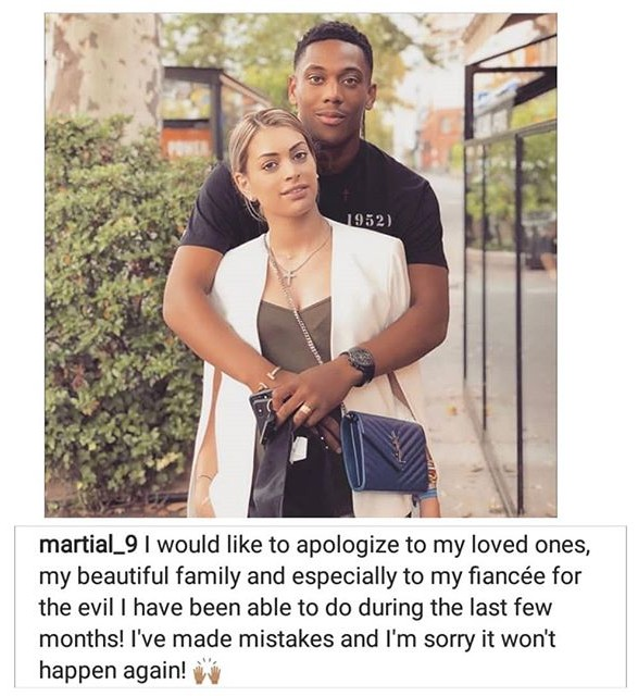Anthony Martial Makes Public Apology To Fiancee, For Cheating On Her While She Was Pregnant