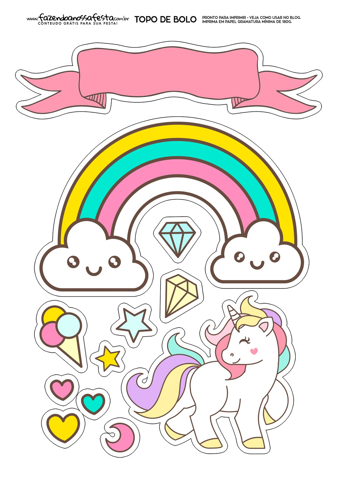 Unicorns Party: Free Printable Cake Toppers. - Oh My ...