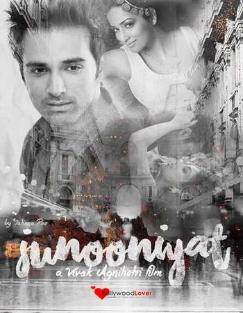 Poster Of Junooniyat 2016 Hindi 150MB DVDScr HEVC Mobile Watch Online Free Download Worldfree4u