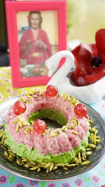 Fanny Cradock Pistachio Raspberry Ice Cream