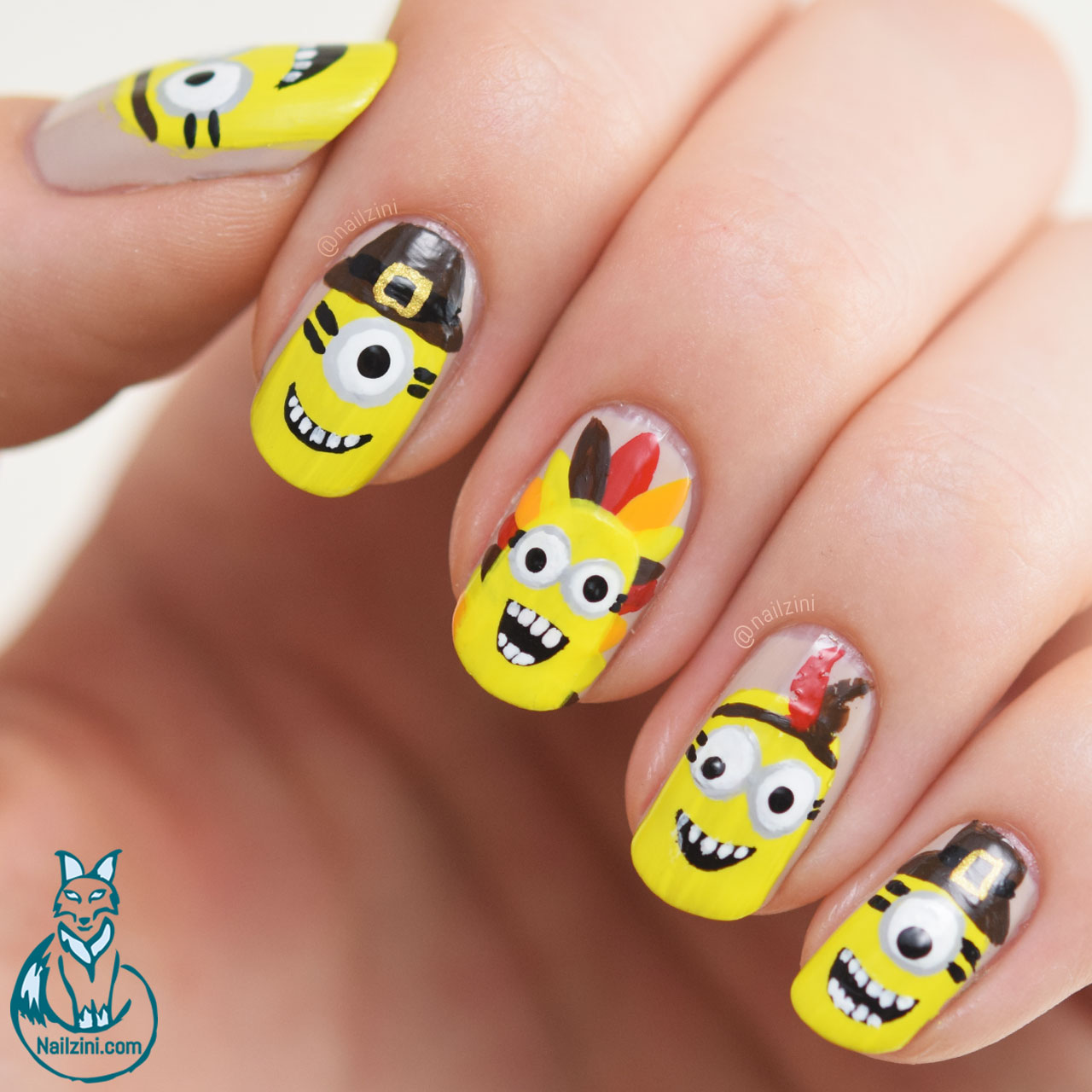 Thanksgiving Minions Nail Art | Nailzini: A Nail Art Blog