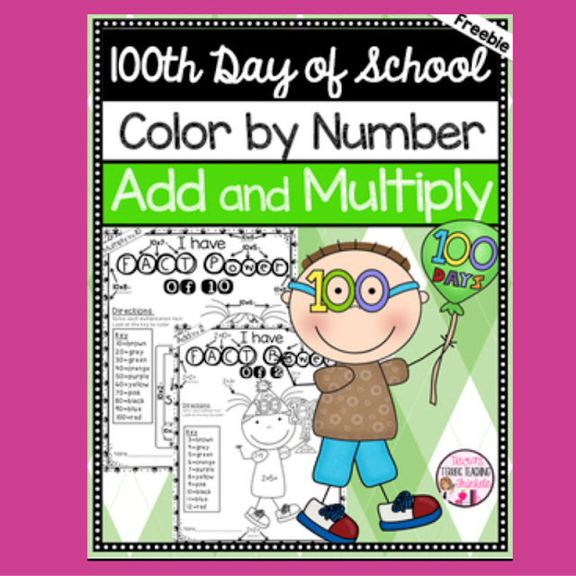 Let your 1st, 2nd, & 3rd grade students practice their addition & multiplication facts with this 100th Day of School Math Fun FREEBIE! Great for homeschool too! With this FREE download, your 100s day party is sure to be a hit - and students won't even realize they're still learning! Click through now to grab your free copy to use in January or February - whenever your 100th Day party happens to fall. {first, second, third grader}
