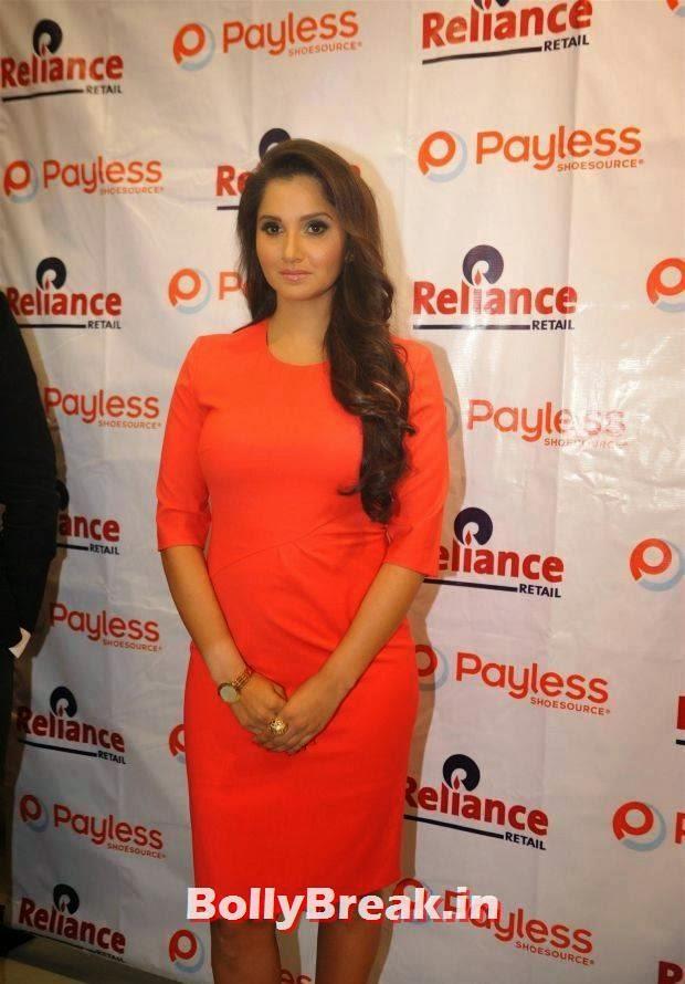 Sania Mirza Photo Gallery, Sania Mirza Hot Pics in Red Midi Dress