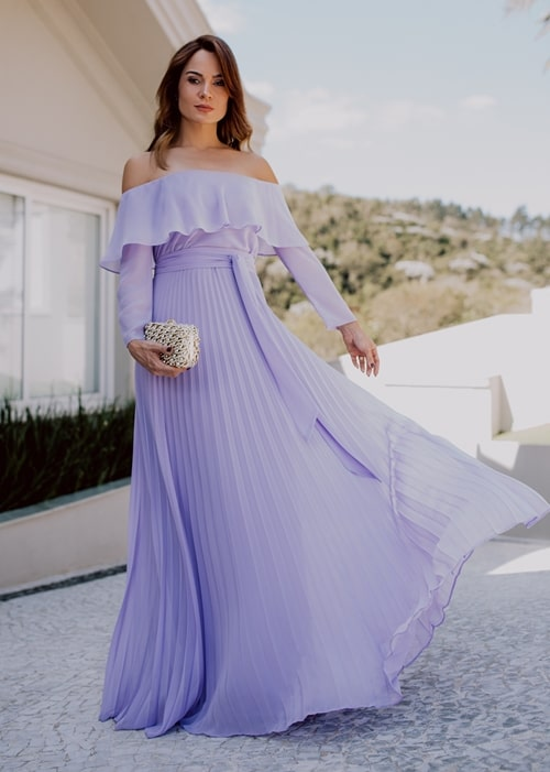 vestido longo lavanda plissado