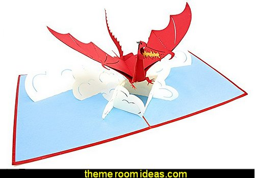Flying Dragon 3D Pop Up Greeting Card  medieval knights party props - castle theme party decorations - Medieval theme party decorating - Castle party props - princess party props - knight and princess costumes - Princess & Knight party ideas - Medieval wall decorating kit - harry potter party supplies - Medieval Birthday Party