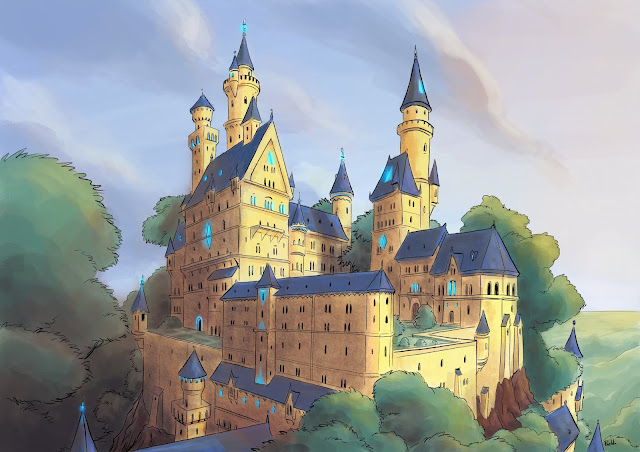 digital painting environment chateau castel Le Pueblo illustraion dessin procreate