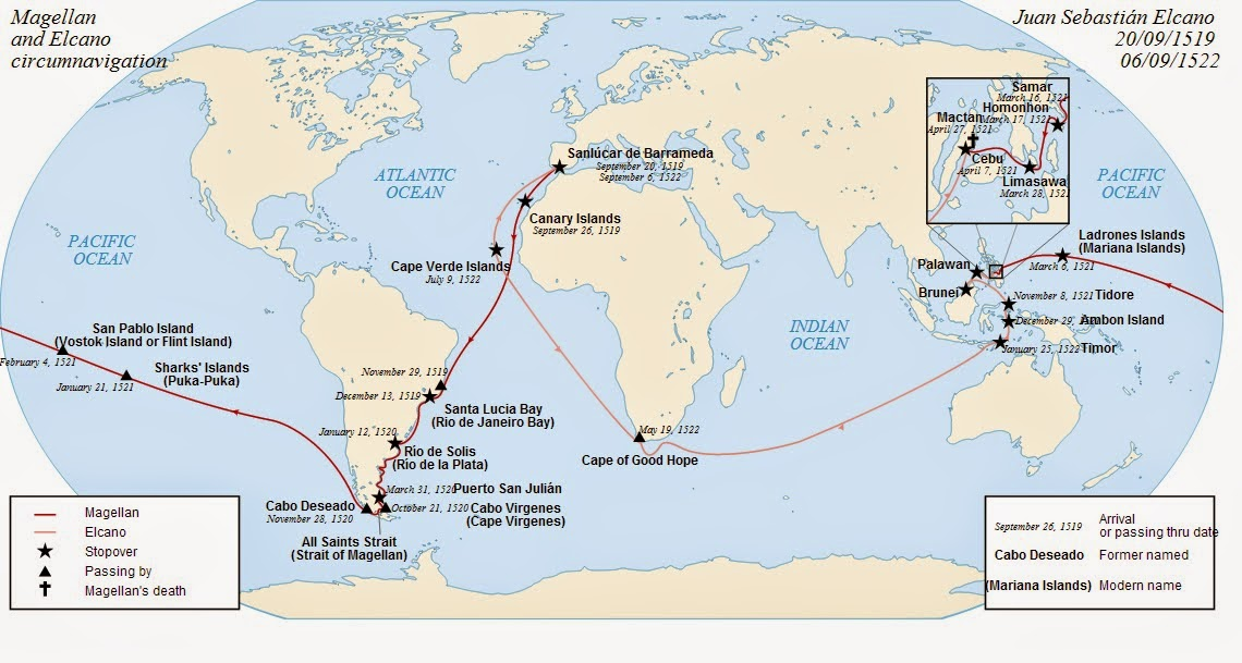magellan expedition summarized Ferdinand magellan ([1] or [2] portuguese: fernão de magalhães, ipa: spanish: fernando de magallanes, ipa: c 1480 – 27 april 1521) was a portuguese explorer who organised the spanish expedition to the east indies from 1519 to 1522, resulting in the first circumnavigation of the earth, completed by juan sebastián elcano.