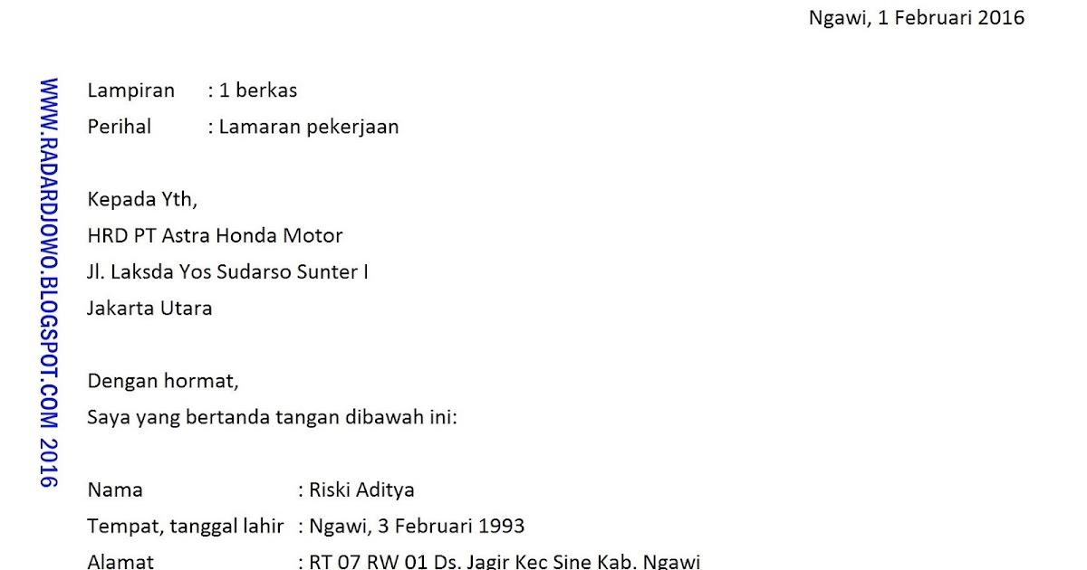 Contoh Penulisan Lamaran Kerja Terbaru 2018 - RADAR DJOWO