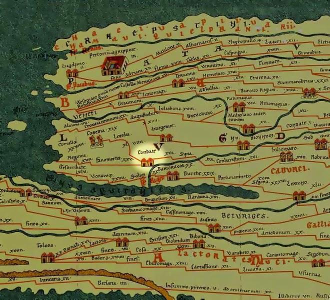 """La ville de """"Condate"""" figure sur la carte de Peutinger... Image sous licence Creative Commons"""