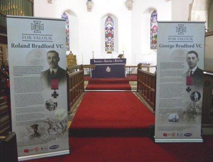 Victoria Cross exhibition banners on display in St Paul's church, photo by Gill Parkes