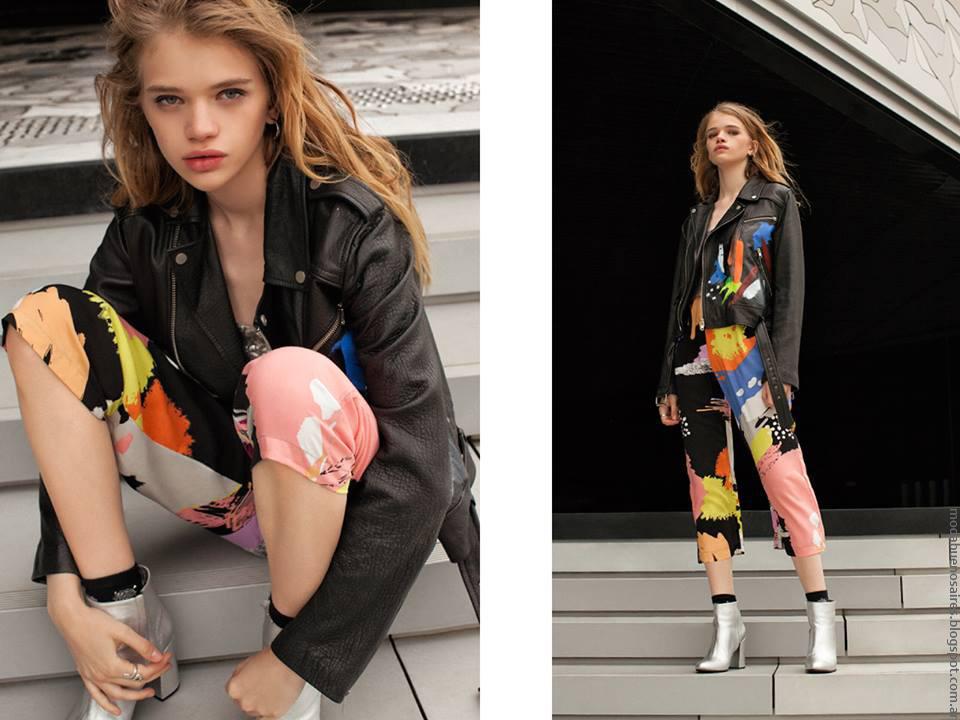 Estilo juvenil moda primavera verano 2017 Complot camperas de cuero y ropa  de mujer.