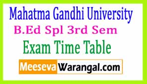 Mahatma Gandhi University B.Ed Spl 3rd Sem Feb 2017 Exam Time Table