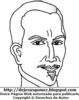 Dibujo de la cara del Inca Garcilaso de la Vega para colorear, pintar e imprimir. Dibujo del Inca Garcilaso de la Vega de Jesus Gómez