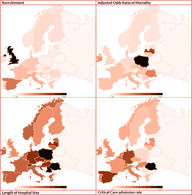 This graphic shows four maps of Europe with the colour of each country representing the primary and secondary outcomes for the EuSOS trial. Data taken from EuSOS publication. Formatted by The Bottom Line.