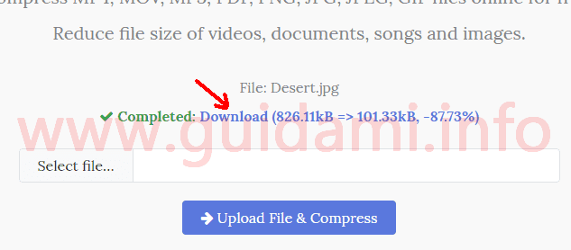 Pagina iniziale del sito YouCompress link di download file compresso